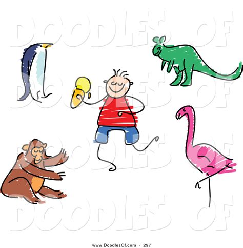 doodle animals vector free vector clipart of a childs sketch of a digital set of zoo