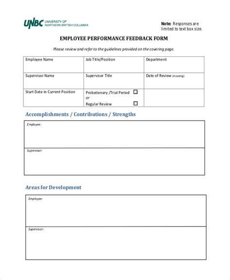 performance feedback template sle employee feedback forms 8 free documents in pdf