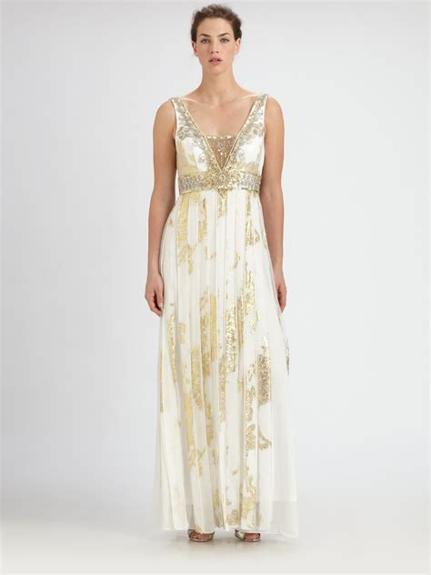 gold beaded gowns sue wong beaded silk jacquard gown in white ivory gold