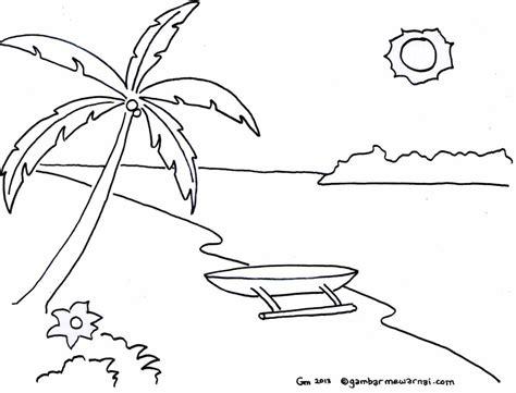 mewarnai gambar pemandangan pantai gambar mewarnai