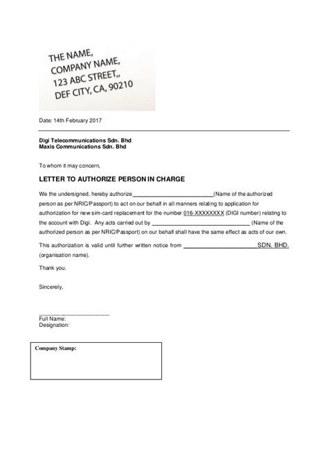 authorization letter to receive credit card sle authorization letter to claim credit card sle 28 images