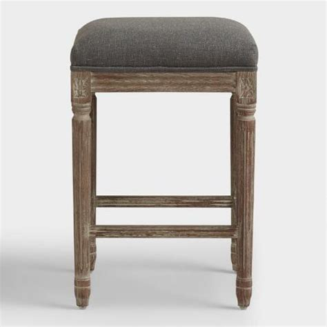 Charcoal Linen Counter Stool by Charcoal Linen Backless Counter Stool World Market