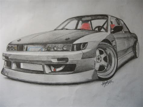 drift cars drawings nissan silvia s13 drift by tolgadinmez on deviantart