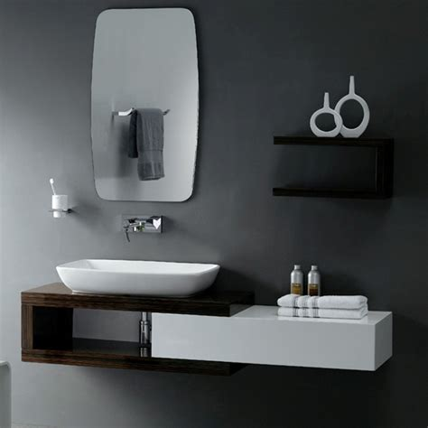 Modern Bathroom Vanity Designs Unique Mirror Side Storage On Gray Color Wall