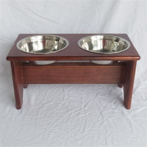 wooden bowl stand elevated bowls stand wooden 2 bowls 250 mm 10 quot raised food and