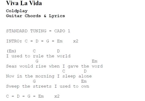 coldplay yellow testo viva la vida by coldplay guitar chords and lyrics best