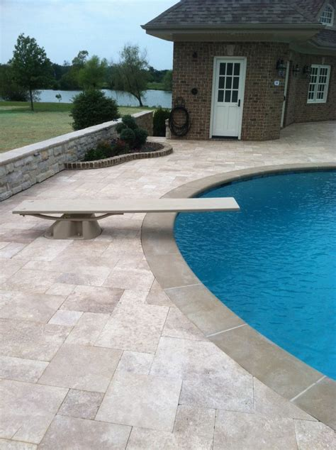 paver brick pool deck with brown concrete and pavers travertine pool deck pavers 187 design and ideas