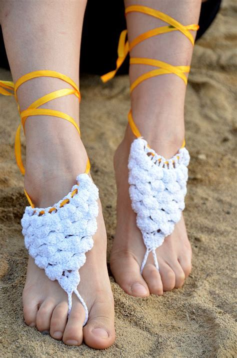 knitted barefoot sandals 2016 summer toe ring anklet cotton knitted