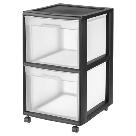 Black Plastic Drawers Sterilite 2 Drawer Plastic File Cart In Black 34209001