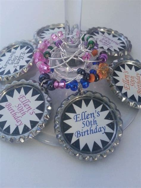 50th Birthday Giveaways - 12 personalized 50th birthday party favors personalized wine charms