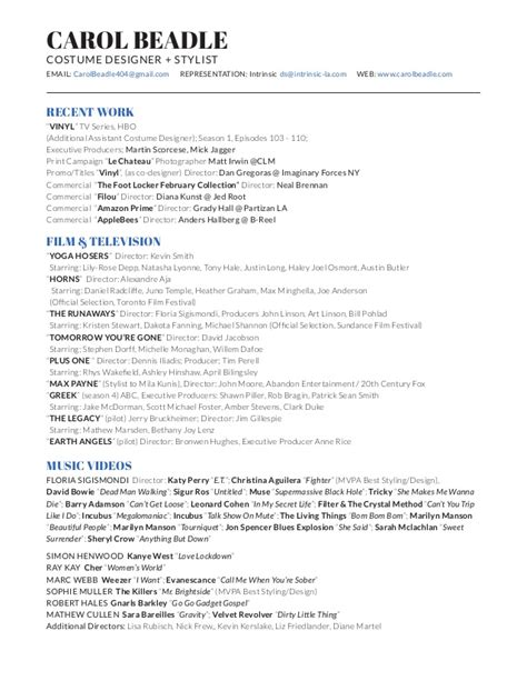 Costume Designer Cover Letter by Costume Designer Resume Resume Ideas