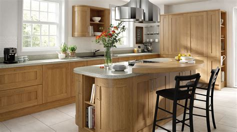 Kitchen Island With Seating For Small Kitchen Lissa Oak Wood Shaker Our Kitchens Chippendale Kitchens