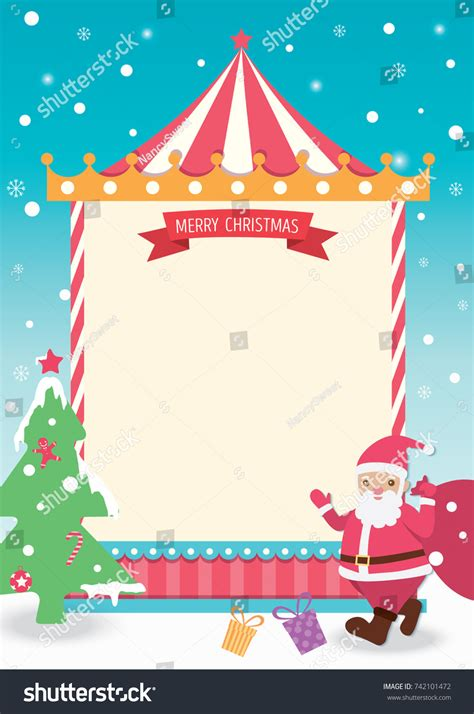 Merry Christmas Template Card Design Santa Stock Vector 742101472 Shutterstock Merry Card Template