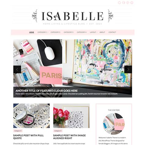 girly wordpress themes isabelle girly wordpress theme wpexplorer