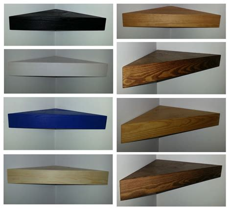 floating corner shelves solid wood pine black white blue