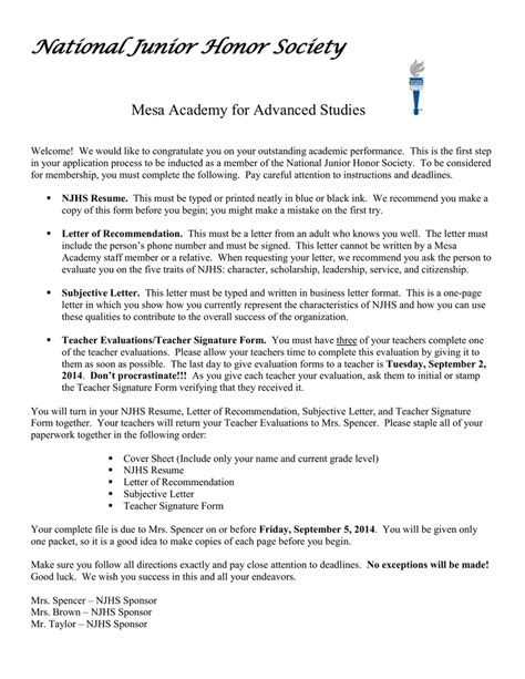 Letter Of Recommendation Njhs national honor society reference letter hvac cover