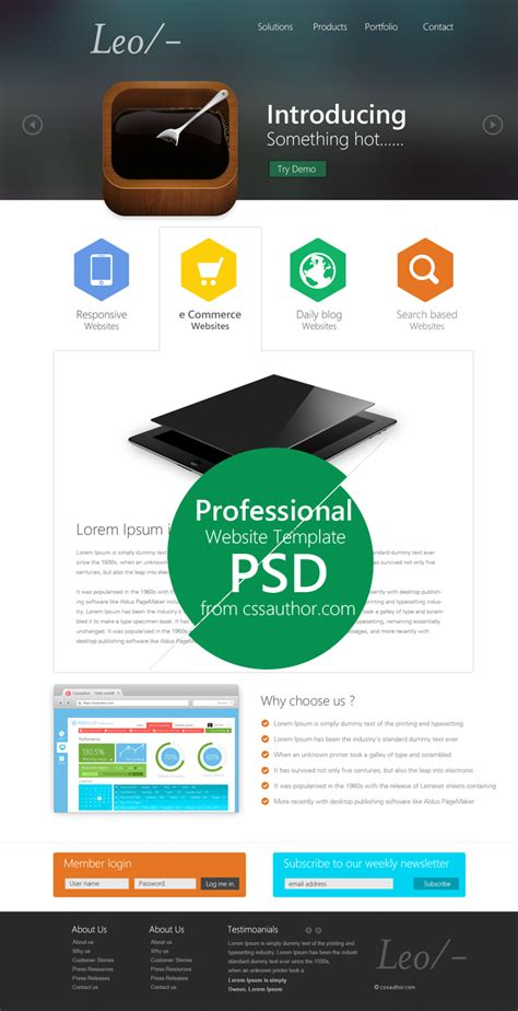 leo website design template psd at downloadfreepsd com
