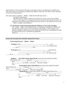 joint custody parenting plan template sle parenting plan form free