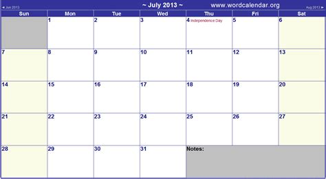 2013 Calendar With Holidays 7 Best Images Of July 2013 Calendar Printable July 2013