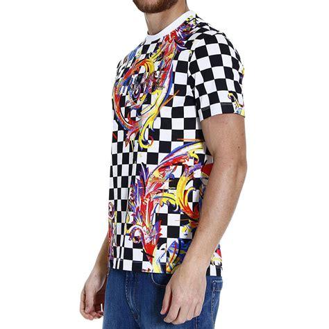 Kaos Fashion Versace Bling Bling Versace Checkerboard Swarovski Logo T Shirt In Multicolor
