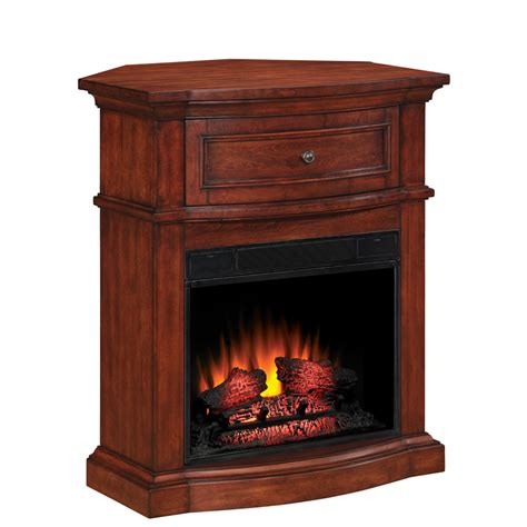 Lowes Corner Fireplace shop style selections 32 in empire cherry corner electric