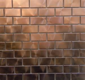 Copper Kitchen Backsplash Tiles Modern Twist With 1 Quot X 2 Quot Copper Tiles Can You Say Bar Backsplash Brickwork Patterns