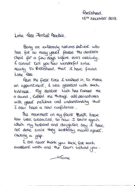 New Patient Letter Family Practice Dentist Portishead Lime Tree Dental Practice Portishead Dentists Portishead Bristol