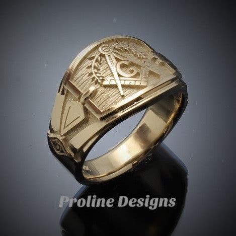 Handmade Gold Ring - masonic blue lodge ring cigar band style in gold