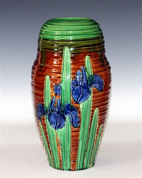 Iris Vase by Awaji Pottery Nouveau Carved Iris Vase For Sale At 1stdibs