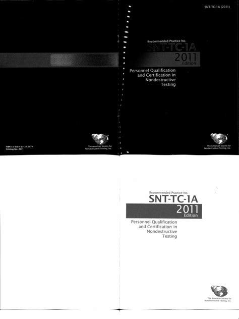 ASNT Tc 1a Ed 2011 Personnel Qualification and