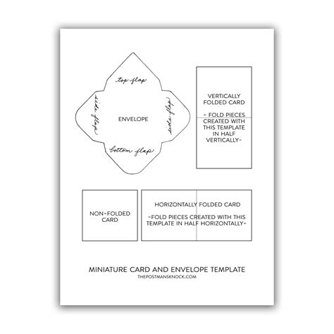 Mini Card Templates by Miniature Card Envelope Printable Template The Postman