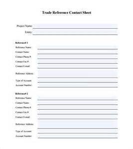 reference sheet template sle trade reference 5 documents in pdf