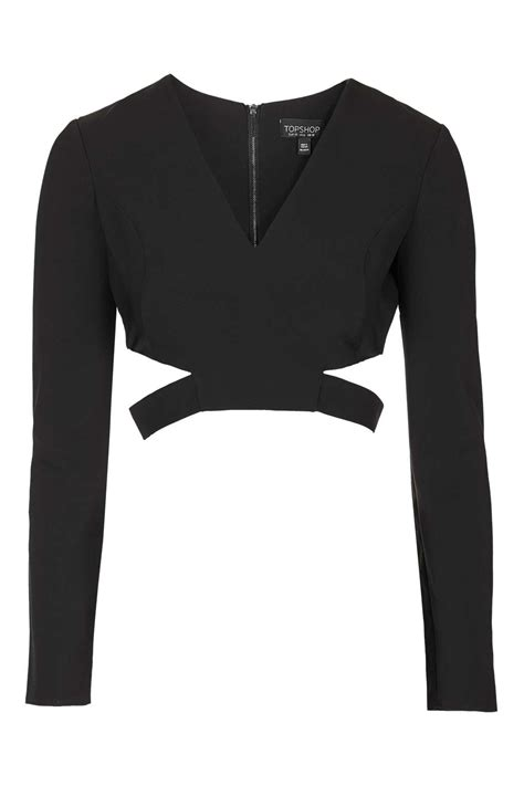 Topshop Countertops by Topshop Cut Out Side Crop Top In Black Lyst