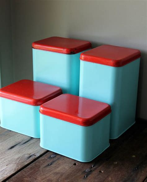 metal canister set vintage blue turquoise aqua retro kitchen decor storage container