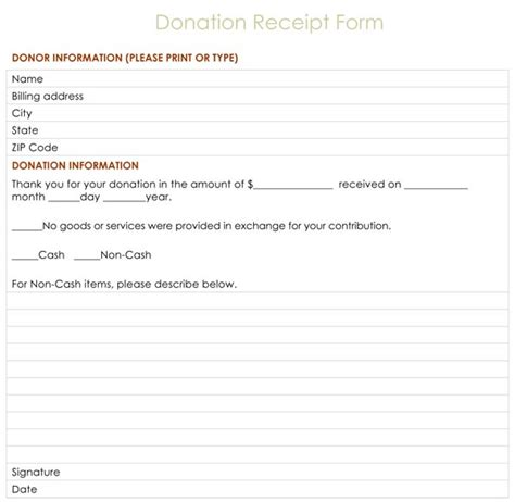 charitable receipt template charity donation form images frompo
