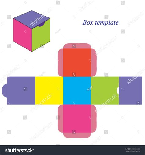 rectangle box with lid template colorful square box template lid vector stock vector
