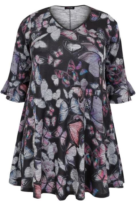 Barrow Butterfly Print Black Trim 1 navy multi butterfly print top with pu trim frill cuffs plus size 16 to 36