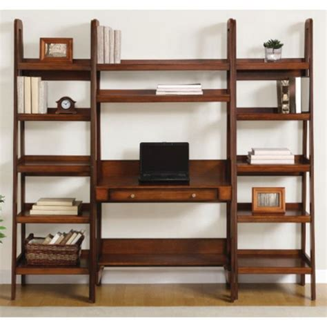 Ladder Bookcase Desk New Leaning Ladder Style Wooden Desk With Two 72 Quot 3 Shelf Wood Bookcases Ebay
