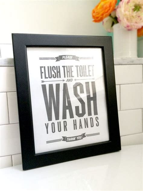 bathroom signs wash your hands flush sign bathroom decor printable art flush toilet