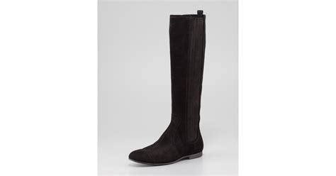 balenciaga arena suede flat knee boot in black lyst