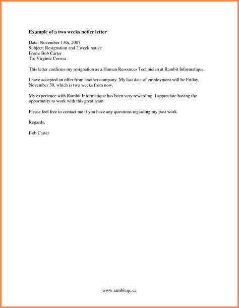10 2 week notice letter to employer notice letter