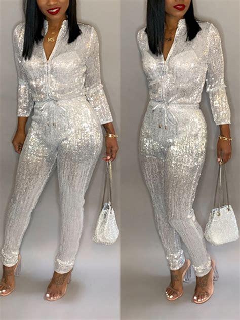 white sequin zipper band collar long sleeve drawstring