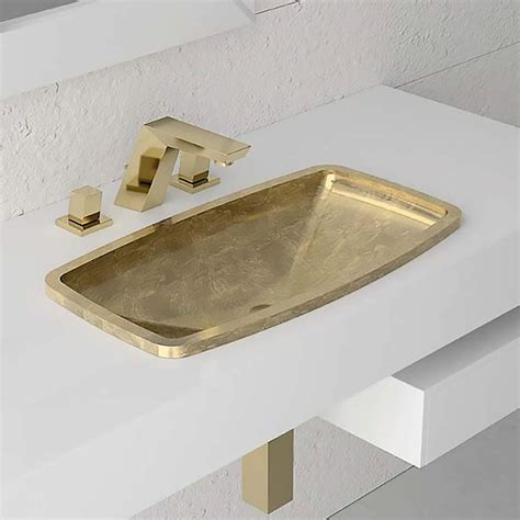 drop in bathroom sinks rectangular rectangular drop in bathroom sink gold leaf