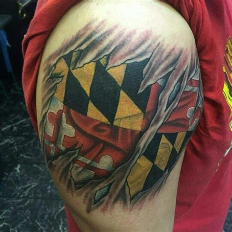 maryland flag tattoo 3d skin rip maryland flag by shady smith