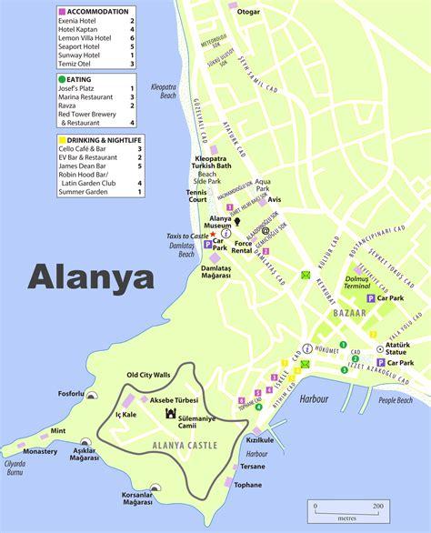 antalya map tourist attractions alanya tourist map