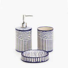 Set Zara Stripe White Ab turquoise mosaic glass bathroom accessory set lotion