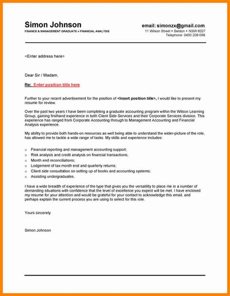Finance Letter 11 Cover Letter Exle Australia Assembly Resume
