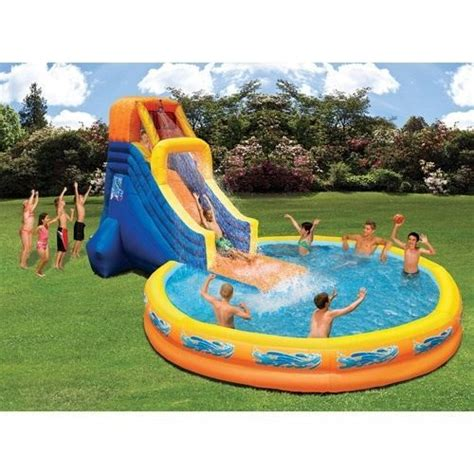 kids backyard pool inflatable pool with water slide swimming kids outdoor