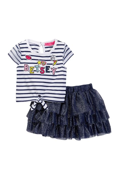 Sale Bj 4853 Color Stripe Skirt betsey johnson striped tie front tulle tutu skirt set toddler nordstrom rack