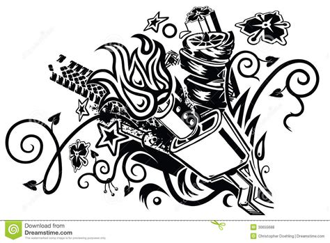 tribal car tattoo muffler explosion stock vector illustration of